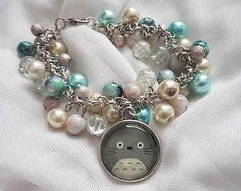 Unique Totoro Anime Gift   Loaded Statement Glass Bead Bracelet with 20mm Glass Pendant    Made in Scotland