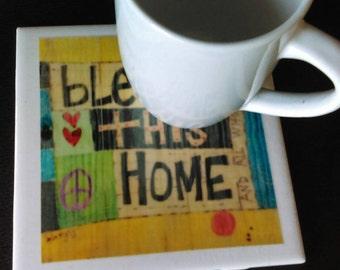 Bless This Home Ceramic Tile Mug Coaster Trivet, Decoration, Gift Idea, Teacher, Home Decor, Housewarming, Bridal Shower, Wedding Gift