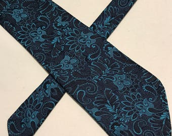 Vintage Tootal blue paisley polyester tie