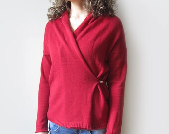 knitted women's cross front cardigan wrap