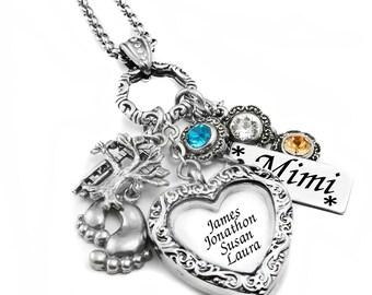 Filigree Heart Locket - Mothers Locket - Children's Photo Locket - Kids Names Locket - Personalized Picture Locket - Charm Locket