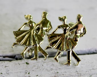 DANCER Earrings Silver Tone Clip On Vintage