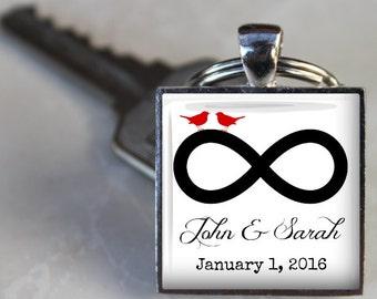 Custom Infinity Anniversary or Wedding Key Chain - Names and Date - Custom Key Chain - Personalized