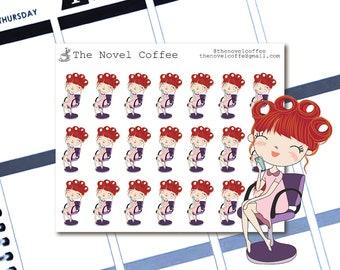 Planner Stickers Doodle Girl Haircut/Salon - Erin Condren Life Planners - NC69