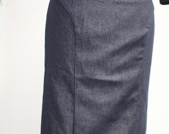 Rockabilly blue denim pencil skirt