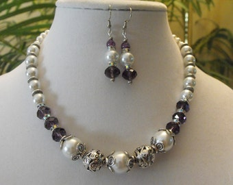 Classic freshwater pearl and crystal necklace set, white pearl, purple crystal statement necklace, Tibetan spacer, rhinestone spacers