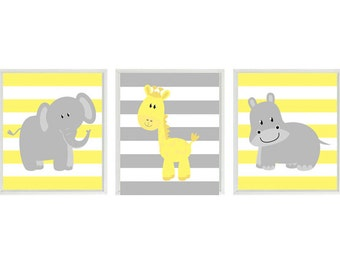Nursery Art  Elephant Giraffe Hippo Safari Wall Art - Yellow Gray Stripes  Print Set   - Neutral Nursery Baby  Room Home Decor