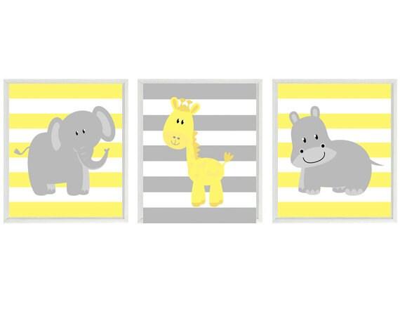 Nursery Art Elephant Giraffe Hippo Safari Wall Art Yellow