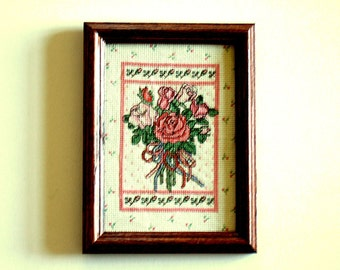 Pretty Pink Roses Cross Stitch Framed Art Cottage Chic Needlework Wall Hanging Unique Gift Vintage Art Gift for Her