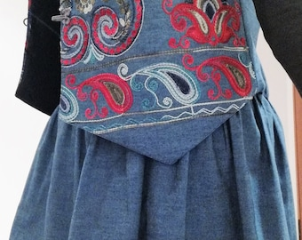 Set skirt and vest, long skirt, denim skirt, denim clothes, traditional clothes, customized clothing, original apparel, Women's clothing