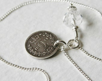 Victorian 2 Pence Sterling Silver Charm Necklace 1851 Genuine Coin