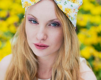 Yellow Rose Bow Headband, Dolly Bow, Oversized Bow Headband, Floral Bow Headband, Yellow Headband, Ditsy Rose Hair Band