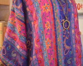 Vintage 1970s David Brown Saks purple floral paisley caftan kaftan maxi dress small medium large extra large