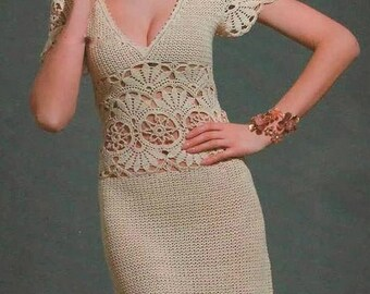 Gorgeous Retro  Sheath Dress Elegant Crochet Hand-Made