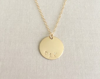 Gold Initials Necklace | Gold Disk Necklace | Personalized Initial Necklace | Gift For Her | Layering Necklace | Stamped Initial Jewelry