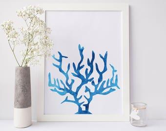 Coral Print, Blue Print, Watercolor Wall Art, Printable Art, Digital Downloads, Watercolor Print, Sea Art, Ocean Art, Wall Decor, Jetty Home