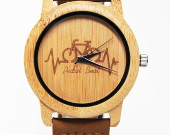 Bicycle watch, wood watch, bamboo watch, eco watch, Pedal Beat, personalized watch, customized watch, gift for cyclits, fathers day gift