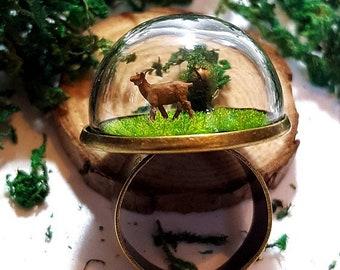 Mini Terrarium Ring Goat - Miniature Moss Terrarium, Fairy Garden, Gift, Bronze, Forest Ring Glass Dome.