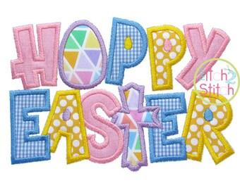 Hoppy Easter 2 Applique Design size(s): 4x4, 5x7 & 6x10,  Instant Downloads