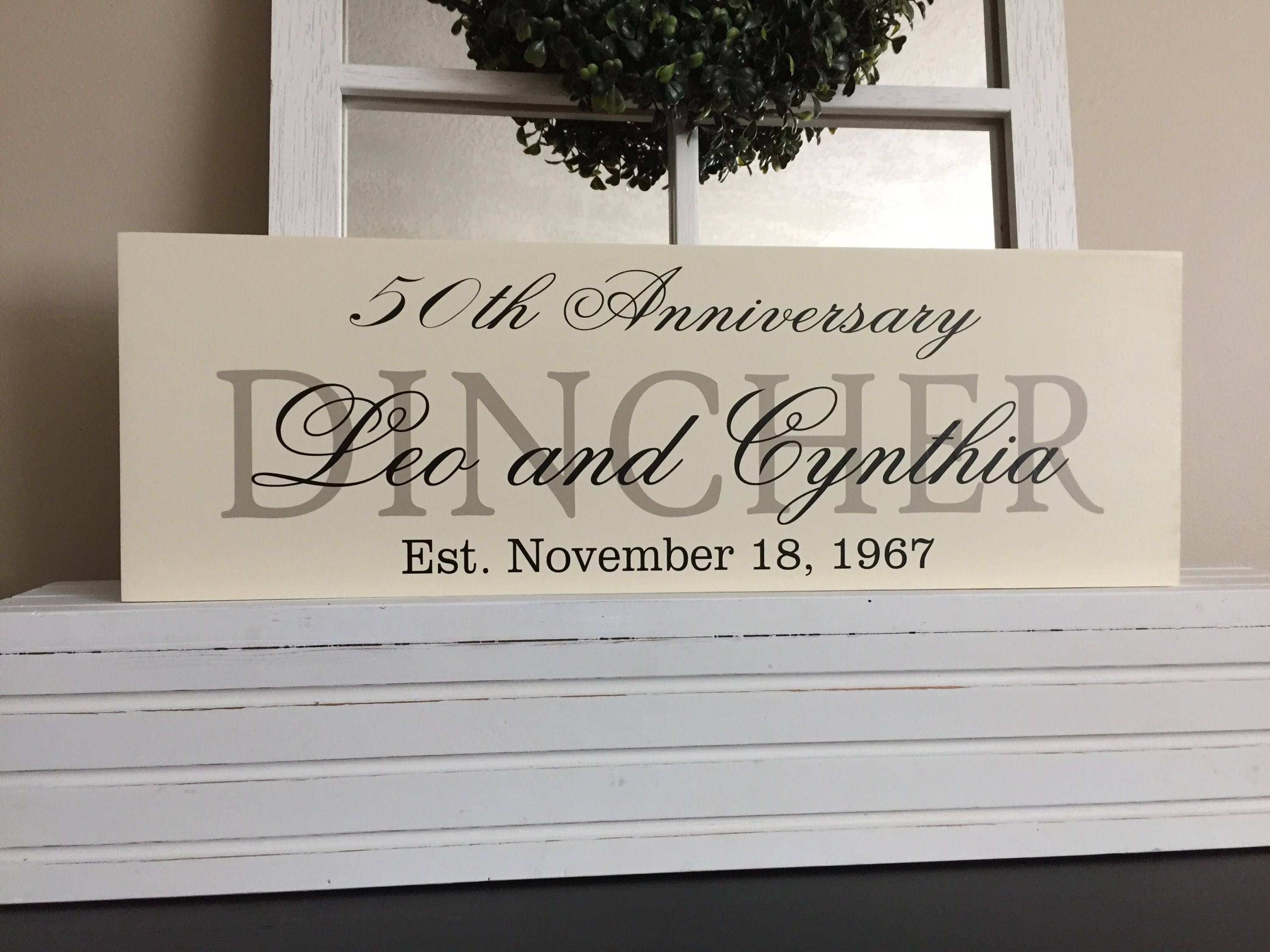 Fiftieth Wedding Anniversary Gifts: 50th Wedding Anniversary Gifts Custom Last Name Signs