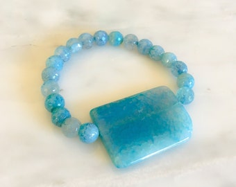 8mm Blue Agate Beads - Custom Fit