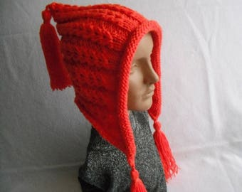 Knit Hat. tassel hat. Aviator Adult Bonnet. Hood with Ties. Womens Winter Hat. wool mix.winter accessory. Orange.