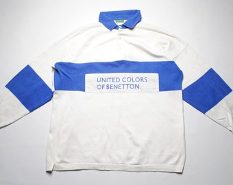 vintage United Colors of Benetton rugby shirt SIZE XL white-blue casual