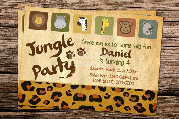Printable jungle safari birthday invitation template zoo stopboris Images