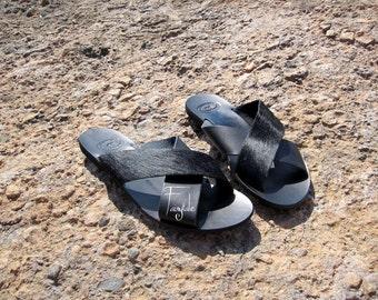 "Pony skin Black leather sandals/Natural Greek Leather sandals/Unisex greek sandals authentic leather handmade sandals/stylish sandals ""Jeus"""