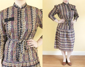 XL Vintage Dress • Ethnic Aztec Dress • 80s Retro Plus Size Dress • Drop Waist Dress • Pleated Novelty Print Chevron Dress with Sleeves UK16