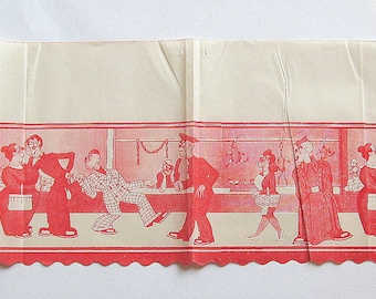 Really rare 20's-30's early animated film Spanish unused paper shelf cover