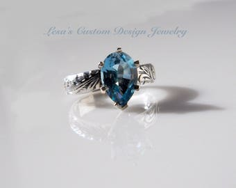 3.50ct Sky Blue topaz sterling silver Art Deco ring