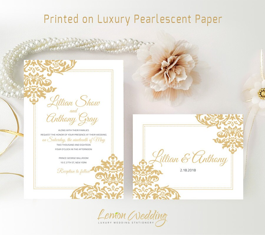 Inexpensive Wedding Invitation Ideas: Cheap Wedding Invitation Kits Printed Gold Wedding