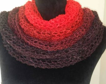 Ombre Australian Merino wrap scarf. Red through to black. Stunning. Lightweight weave knitted pattern.