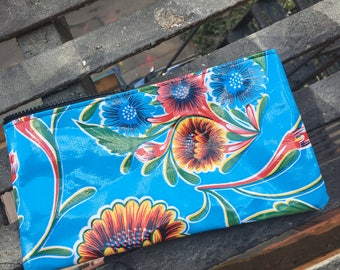 """10"""" Blue Floral Oil Cloth Zippered Pencil Case, Cosmetic Case, Oil Cloth Pouch"""