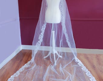 Cathedral length veil - lace edge