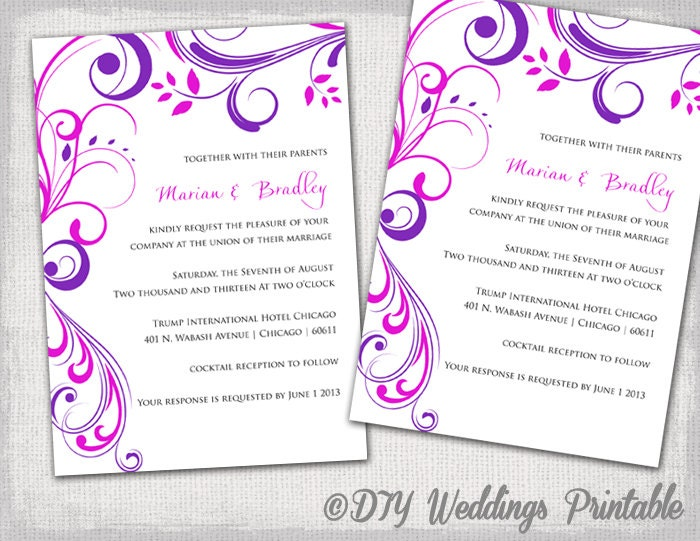 purple wedding invitation templates free