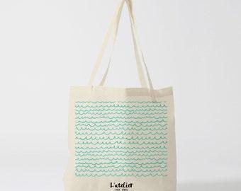 X43Y Tote bag waves blue handbag, tote bag, diaper bag, vague printed bag, computer bag, bag races, cotton bag