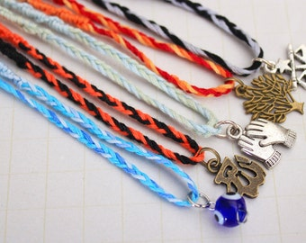 Complete set of Divergent inspired faction charm bracelets (5) - Veronica Roth - Dauntless, Erudite, Candor, Amity, Abnegation