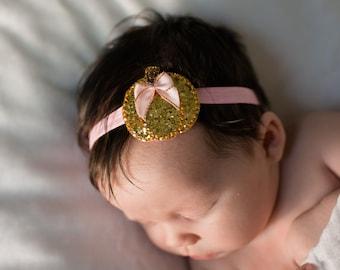 Gold pumpkin headband - Baby girl pumpkin headband - Baby girl headband - Pink and gold headband - Cutest pumpkin in the patch headband