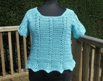 Summer Crochet Top With Cap Sleeve