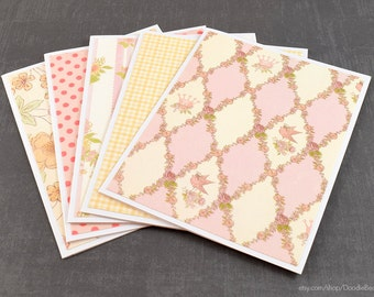 Pink Cards, Assorted Cards, Set of Cards, Blank Greeting Cards, Stationery Cards, Blank Cards, Handmade Cards, Greeting Card Set, Note Cards