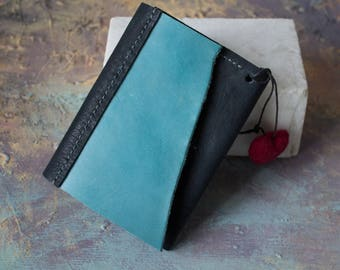 Leather business and credit card Wallet Holder with Needle Felt Heart, Credit Card Case, Leather Card Holder