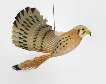 Carved Wooden Bird, Small Falcon, American Kestrel Woodwork, Wood Mobile Fan Carving, Hunter Gift, Lodge Decor Folk Craft, Mid Century Art