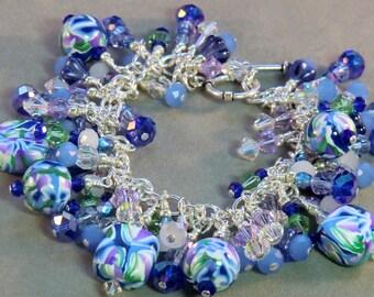 SALE! Boho cobalt blue cha cha charm bracelet, light blue, lavender and pale green polymer sterling silver dangle bracelet blue purple white
