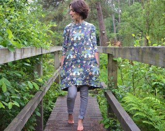 Ladies grey rabbit dress jersey smock 6-16 bunny jumper flowers leaves pocket cotton floral pockets lounge stretch knit pretty casual