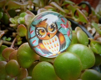 """Lovely adjustable glass cabochon ring """"Owl"""""""