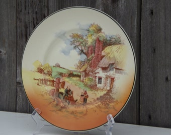 Antique Royal Doulton Cabinet Plate Series Ware Plate Rare Vintage Pattern Art Deco Hand Painted Collectibles & Antique Aynsley Porcelain Cabinet Plate Black \u0026 Gold Hand