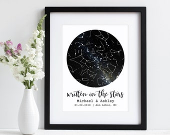 Written In The Stars | Under This Sky Personalized Star Map Sky Map Star Print | First Anniversary Gift | Paper Wedding Anniversary Gift