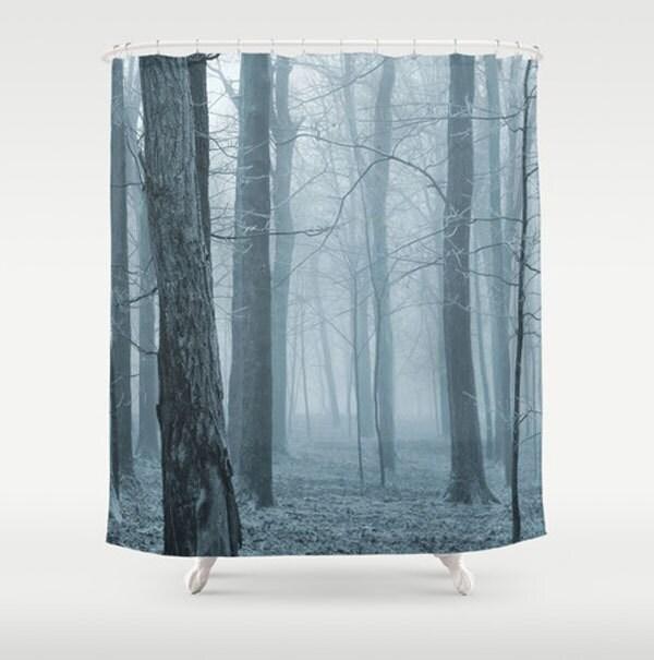 Foggy Forest Shower Curtain Denim Blue Photo Fabric Shower